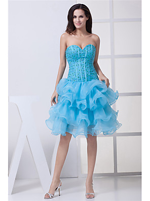 cheap Cocktail Dresses-Back To School Ball Gown Elegant Party Wear Wedding Guest Cocktail Party Dress Strapless Sleeveless Knee Length Organza with Beading Tier 2020 Hoco Dress