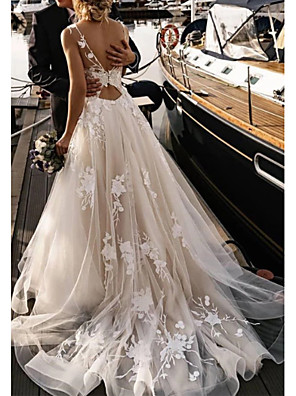cheap Prom Dresses-A-Line Wedding Dresses V Neck Court Train Tulle Spaghetti Strap Backless with Appliques 2020