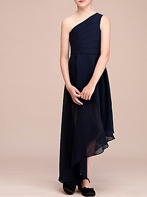 cheap Junior Bridesmaid Dresses-A-Line One Shoulder Asymmetrical Chiffon Junior Bridesmaid Dress with Pleats