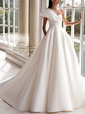cheap Wedding Dresses-A-Line Wedding Dresses One Shoulder Sweep / Brush Train Satin Short Sleeve Plus Size Modern with Buttons Ruched 2020