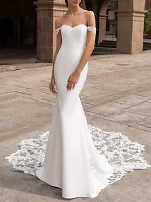 cheap Wedding Dresses-Mermaid / Trumpet Wedding Dresses Off Shoulder Court Train Lace Cap Sleeve Plus Size with Lace Insert 2020