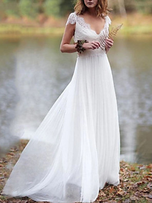 cheap Wedding Dresses-A-Line Wedding Dresses V Neck Floor Length Lace Tulle Cap Sleeve Illusion Detail with Draping Appliques 2020
