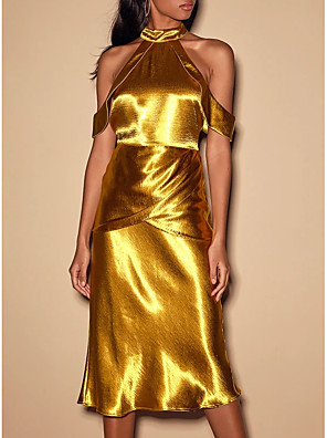 cheap Mother of the Bride Dresses-Sheath / Column Gold Party Wear Wedding Guest Cocktail Party Dress High Neck Short Sleeve Knee Length Satin with 2020
