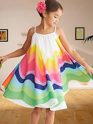 cheap Girls' Dresses-Kids Girls' Rainbow Dress Red