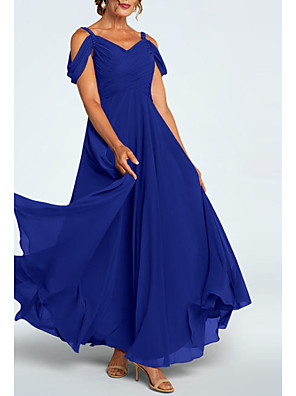 cheap Evening Dresses-A-Line Mother of the Bride Dress Elegant Plunging Neck Ankle Length Chiffon Short Sleeve with Ruching 2020
