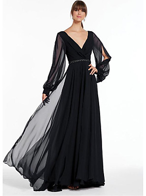 cheap Evening Dresses-A-Line Empire Black Holiday Formal Evening Dress V Neck Long Sleeve Floor Length Chiffon with Beading 2020