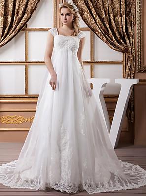 cheap Evening Dresses-A-Line Wedding Dresses Square Neck Court Train Lace Organza Satin Cap Sleeve Formal Vintage Illusion Detail Plus Size with Beading Appliques 2020