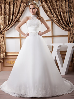 cheap Wedding Dresses-A-Line Wedding Dresses High Neck Court Train Lace Satin Tulle Regular Straps with Ruched Beading Appliques 2020