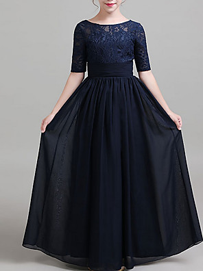 cheap Junior Bridesmaid Dresses-A-Line Round Neck Floor Length Chiffon Junior Bridesmaid Dress with Ruching