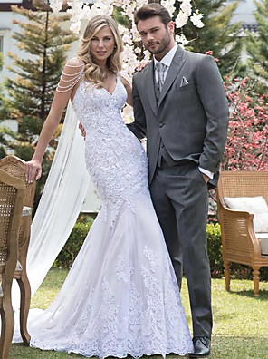 cheap Wedding Dresses-Mermaid / Trumpet Wedding Dresses V Neck Court Train Lace Tulle Lace Over Satin Spaghetti Strap Beautiful Back with Appliques 2020