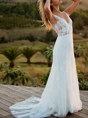 cheap Wedding Dresses-A-Line Wedding Dresses V Neck Sweep / Brush Train Lace Regular Straps with 2020