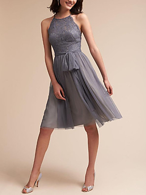 cheap Bridesmaid Dresses-A-Line Jewel Neck Knee Length Lace / Tulle Bridesmaid Dress with Sash / Ribbon