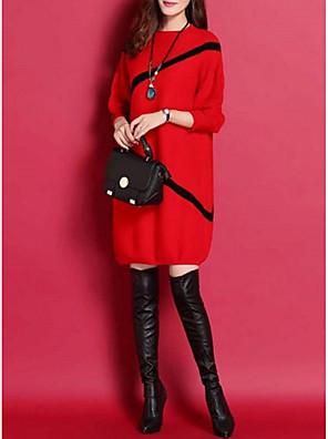abordables Hauts pour Femmes-Femme Robe Tricot Grandes Tailles Au dessus du genou Manches 3/4 Chic de Rue Rayé Noir Rouge M L XL XXL XXXL XXXXL XXXXXL