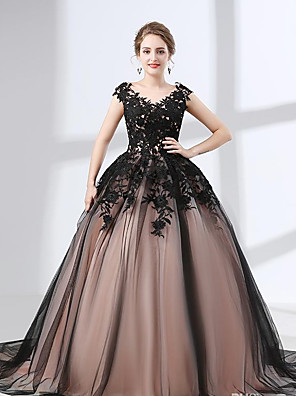 cheap Wedding Dresses-A-Line Wedding Dresses V Neck Chapel Train Lace Tulle Regular Straps Black with Appliques 2020