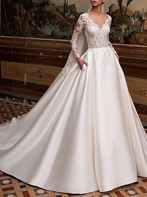 cheap Wedding Dresses-A-Line Wedding Dresses V Neck Sweep / Brush Train Lace Satin Long Sleeve Plus Size Illusion Sleeve with Embroidery 2020