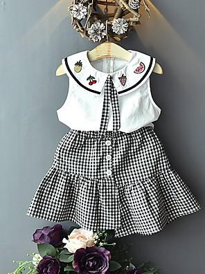 cheap Girls' Dresses-Kids Girls' Basic Plaid Sleeveless Clothing Set White