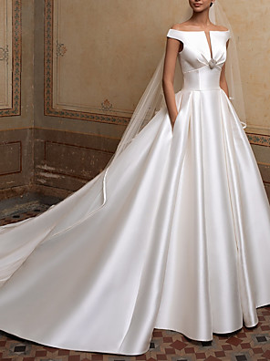 cheap Wedding Dresses-A-Line Wedding Dresses Off Shoulder Sweep / Brush Train Satin Short Sleeve Simple Elegant with Buttons Crystal Brooch 2020