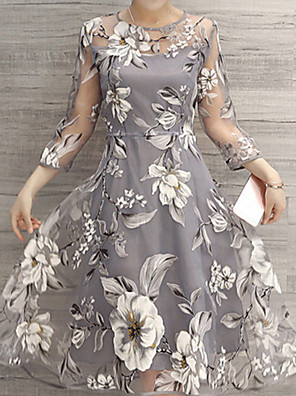 cheap Cocktail Dresses-Women's A Line Dress - 3/4 Length Sleeve Floral Spring & Summer 2020 White Yellow Light gray S M L XL XXL
