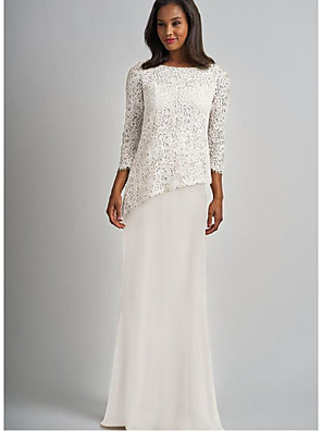cheap Mother of the Bride Dresses-Sheath / Column Mother of the Bride Dress Elegant & Luxurious Bateau Neck Floor Length Chiffon Lace 3/4 Length Sleeve with Lace 2020