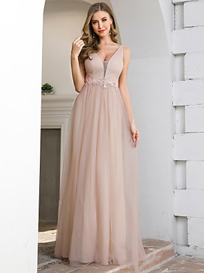 cheap Bridesmaid Dresses-A-Line Plunging Neck Floor Length Tulle Bridesmaid Dress with Appliques