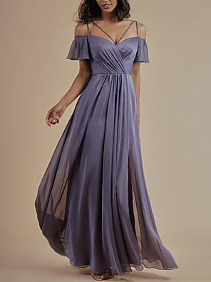 cheap Prom Dresses-A-Line Spaghetti Strap Floor Length Chiffon Bridesmaid Dress with Crystals / Split Front / Ruching / Open Back