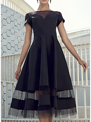 cheap Cocktail Dresses-A-Line Elegant Party Wear Wedding Guest Cocktail Party Dress Boat Neck Short Sleeve Knee Length Organza Charmeuse with Tier 2020