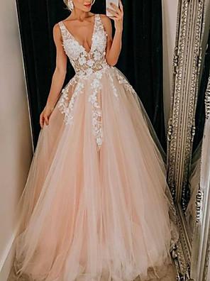 cheap Prom Dresses-A-Line Wedding Dresses V Neck Floor Length Lace Tulle Regular Straps Boho Plus Size with Appliques 2020
