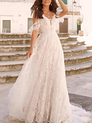 cheap Wedding Dresses-A-Line Wedding Dresses V Neck Court Train Sweep / Brush Train Chiffon Tulle Long Sleeve Boho Plus Size with Lace Insert 2020 / Yes