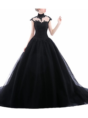 cheap Prom Dresses-A-Line Wedding Dresses Jewel Neck Sweep / Brush Train Lace Tulle Short Sleeve Formal Black Modern with Draping Lace Insert 2020