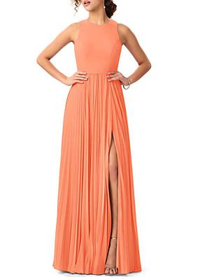cheap Bridesmaid Dresses-A-Line Jewel Neck Floor Length Chiffon Bridesmaid Dress with Split Front / Pleats