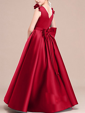 cheap Junior Bridesmaid Dresses-A-Line Round Neck Floor Length Satin Junior Bridesmaid Dress with Bow(s) / Ruffles