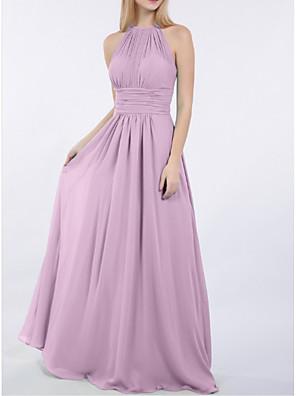cheap Bridesmaid Dresses-Sheath / Column Jewel Neck Floor Length Chiffon Bridesmaid Dress with Ruching