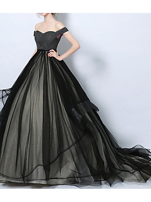 cheap Wedding Dresses-A-Line Wedding Dresses Off Shoulder Court Train Tulle Regular Straps Formal Black with Lace Insert 2020