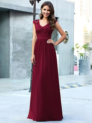 cheap Bridesmaid Dresses-A-Line V Neck Floor Length Chiffon Bridesmaid Dress with Lace