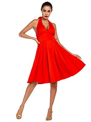 cheap Evening Dresses-Latin Dance Dress Pleats Ruching Women's Daily Wear Theme Party Sleeveless Natural Milk Fiber