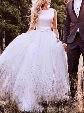 cheap Wedding Dresses-A-Line Wedding Dresses Bateau Neck Sweep / Brush Train Tulle Regular Straps Romantic Plus Size with Bow(s) 2020