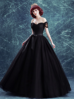 cheap Wedding Dresses-Ball Gown Wedding Dresses Off Shoulder Floor Length Satin Tulle Short Sleeve Black with Sashes / Ribbons Bow(s) Ruched 2020