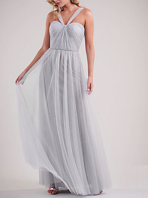 cheap Bridesmaid Dresses-A-Line Spaghetti Strap Floor Length Tulle Bridesmaid Dress with Ruching / Open Back