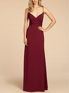 cheap Prom Dresses-Sheath / Column Spaghetti Strap Floor Length Satin Bridesmaid Dress with Ruching / Open Back