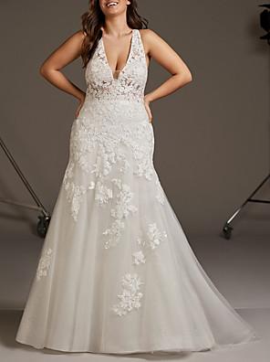cheap Wedding Dresses-Mermaid / Trumpet Wedding Dresses V Neck Sweep / Brush Train Lace Tulle Regular Straps Plus Size with 2020