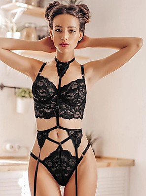 cheap Suits-Women's Mesh Super Sexy Gartered Lingerie Nightwear Solid Colored White / Black S M L / Halter Neck