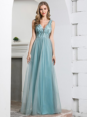 cheap Bridesmaid Dresses-A-Line Plunging Neck Floor Length Tulle / Sequined Bridesmaid Dress with Sequin