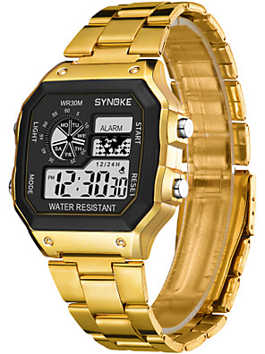 cheap Kids' Watches-SYNOKE Digital Watch Digital Sporty Stylish Outdoor Water Resistant / Waterproof Digital - Gold Silver / Calendar / date / day / LCD / Noctilucent / Large Dial