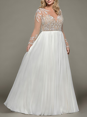 cheap Wedding Dresses-A-Line Wedding Dresses Bateau Neck Floor Length Satin Tulle Long Sleeve Romantic Plus Size Illusion Sleeve with Beading Draping Embroidery 2020