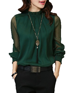 cheap Women's Blouses & Shirts-Women's Shirt Solid Colored Long Sleeve Tops Basic Stand Collar Wine White Black / Work / Lantern Sleeve