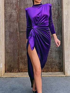 cheap Evening Dresses-Sheath / Column Elegant Engagement Formal Evening Dress High Neck Long Sleeve Asymmetrical Charmeuse with Ruched Split Front 2020