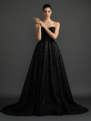 cheap Wedding Dresses-A-Line Wedding Dresses Sweetheart Neckline Court Train Satin Sequined Strapless Black Modern with Draping 2020