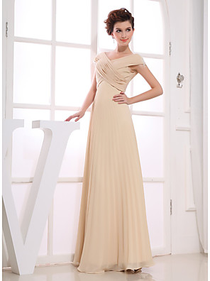 cheap Evening Dresses-A-Line Elegant Wedding Guest Engagement Formal Evening Dress V Neck Short Sleeve Floor Length Chiffon with Ruched Beading 2020