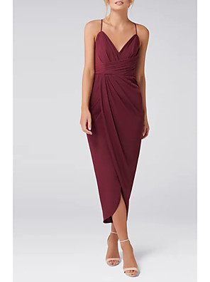 cheap Prom Dresses-Sheath / Column Elegant Party Wear Wedding Guest Cocktail Party Dress Spaghetti Strap Sleeveless Asymmetrical Jersey with Ruched Split 2020