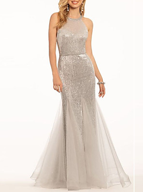 cheap Evening Dresses-Mermaid / Trumpet Sparkle & Shine Engagement Formal Evening Dress Halter Neck Sleeveless Floor Length Tulle with Sequin 2020
